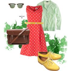 '50s-inspired spring day, created by sreagle on Polyvore