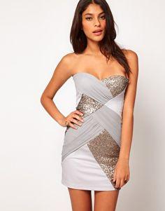 Elise Ryan Mesh Sequin Panelled Bandeau Dress