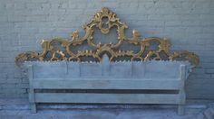 Italian Carved Gold Gilt King Headboard image 9
