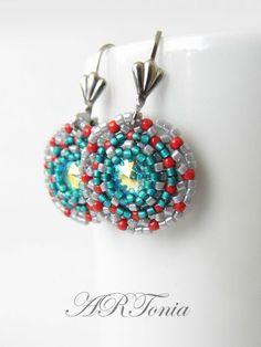 ARToniabeads, ŠPERKY, Swarovski náušnice, Swarovski Crystal AB náušnice, Swarovski earrings, beaded earrings, beadwork, beadweaving, miyuki delica, toho round seed beads, seed beads earrings
