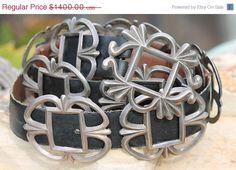 Vintage Navajo Tufa Stone Cast Sterling Silver Open Work Concho Belt