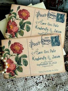 vintage inspired botanical post card for wedding save the date. vintage inspired save the dates.