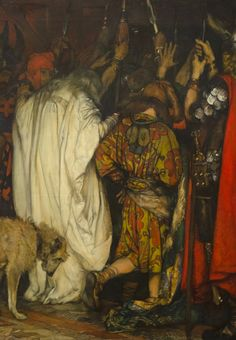Edwin Austin Abbey - King Lear: Cordelia's Farewell Detail: Leer being led away. Even the dog is sad. :o(