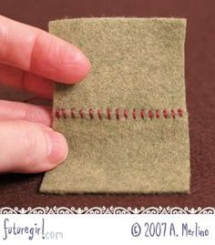 Hand Sew Felt Using Whip Stitch -This step-by-step tutorial explains exactly how to use the whip stitch to sew two pieces of felt together. Each step is accompanied by a photo.