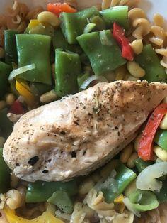 mes plats IG bas - filet de poulet a la vapeur, petits légumes et patte de lentille corail