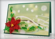 Poinsettia Quilling Card for Christmas Poinsettia, Quilling, Cards, Projects To Try, Paper, Christmas, Decor, Bedspreads, Xmas