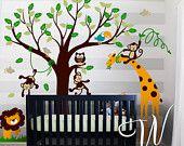 Tree, Koalas and Butterflies  - Nursery Wall Decal. $96,00, via Etsy.