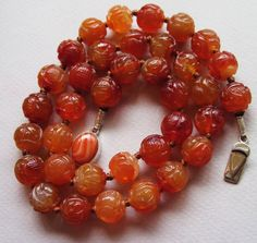 "Vintage Chinese Carved Carnelian Beads Necklace 24"" Vintage Sterling Clasp 