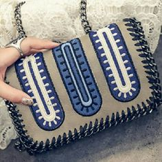 Black Blue & White Leather & Chain Crossbody Black & White & Multi Color Blue Patterned Polyurethane Leather Chain Cross Body Bag  Comment below if you'd like to be notified when taupe arrives         No Trades Price Firm ✈✈Ships Same Or Next Day✈✈ Bags Crossbody Bags