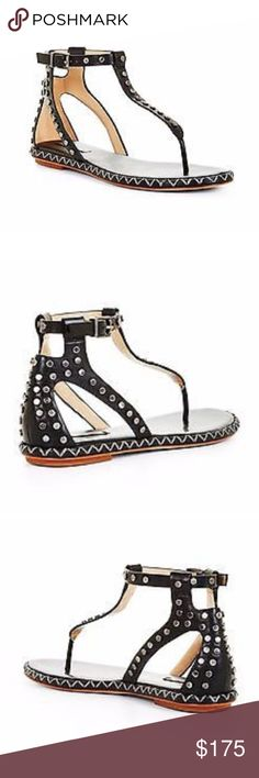 BCBG Max Azria Black studded t-strap sandal Ready for Spring? 😎😎😎 This sandal is EVERYTHING!! It is studded and real leather. From the Summer 16' collection and a size 10, true fit. Worth every penny! in original box!!! BCBGMaxAzria Shoes