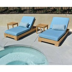 Willow Creek Designs Pacific Teak 4 Piece Outdoor Chaise Lounge with Sunbrella Cushion Bravada Lime Light - WC-19-5602