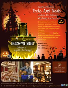 Live it up, Drink it down, Party Hard! Celebrate this Halloween at The Golden Palms Hotel & Spa, Delhi. Visit www.goldenpalmshotel.com for more details. Contact Details: 8826690132 / 8800498938