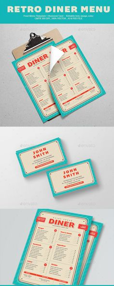 Retro Diner Menu, Features AI CS 6& Psd FIles A4 size 21x29.7 cm   bleed 3.5 inch x2 inch Ready to print CMYK 300 DPI CMYK Print Ready well organized layer vector included Business card & Flyer Font Used bemio roboto slab Don¡¯t forget to rate ths fle enjoy