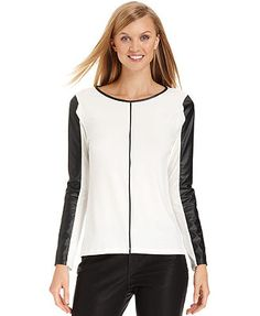 Calvin Klein Top, Long-Sleeve Faux-Leather Colorblock