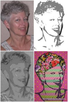 """Art Quilt Portrait - """"Flowers in Her Hair"""" Love the flower fabric for the hair."""