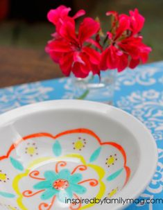 DIY Mexican Folk Art Bowls with Permanent Markers - Inspired by Familia