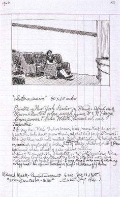 Study and notes for Intermission: 1963 by Edward Hopper - American Realism Edward Hopper, American Realism, American Artists, Alphonse Mucha, Storyboard, Ashcan School, Drawing Sketches, Drawings, Art Sketchbook