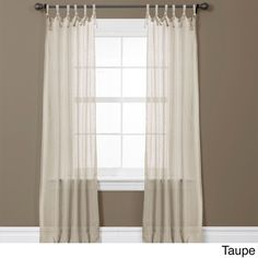 These Helena window panels make any room bright and refreshing with a soft hue, surface and ribbon knot top treatment detail. Sold in pairs, each panel measures 84 inches long and 38 inches wide to accommodate any decor.