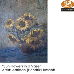 Adriaan Boshoff was born in 1935 in Pretoria, the city where he grew up. He is an expert on colour, being able to create 200 different colours from three basic colours. Basic Colors, Colours, South African Artists, Pretoria, Flower Vases, Art Gallery, Passion, Create, City