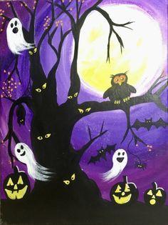 Halloween Canvas Paintings, Halloween Artwork, Halloween Silhouettes, Easy Canvas Painting, Halloween Painting, Painting & Drawing, Canvas Art, Halloween Wallpaper, Painting Tips