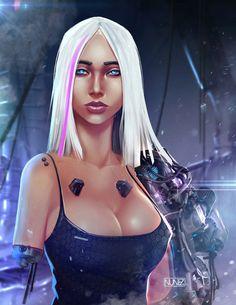 Sci-fi Mecha Girl by William Nunez on ArtStation. Cyberpunk Rpg, Cyberpunk Girl, Female Character Concept, Fantasy Life, Fantasy Art, Superhero Movies, Shadowrun, Sci Fi Art, Female Characters