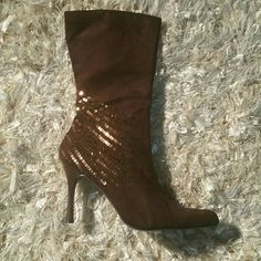 ***Host Pick 9/26*** Beautiful Boots With Sequin Suede like material ,three inch heels with wooden design very chic. Smoking hot and will really make a stunning piece for anyone's wardrobe. Like new up top but are preloved so wear on the  soles only. Worn a couple of times. Shoes Heeled Boots