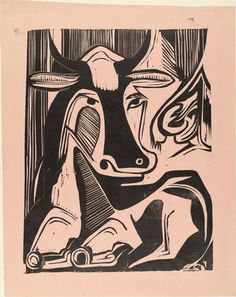 Picasso print of resting bull - would love to do this on a pot!