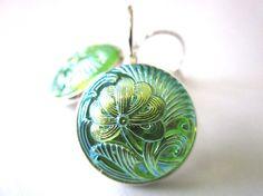 Vintage glass button earrings, iridescent green ginkgo flowers, silver leverbacks
