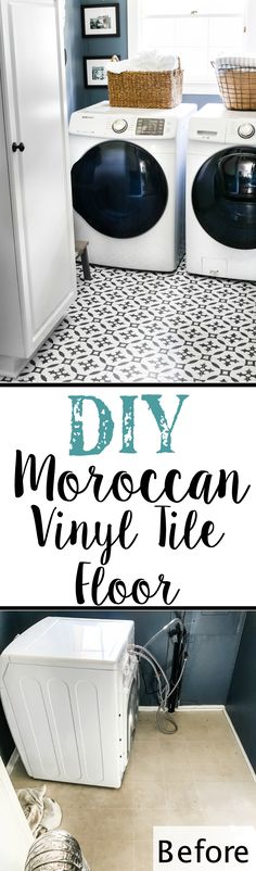 A DIY tutorial for how to install moroccan peel & stick vinyl tiles. Less messy than paint. Less time-consuming and less expensive than real tile! Vinyl Tile Flooring, Vinyl Tiles, Diy Flooring, Peel And Stick Floor, Laundry Room Tile, Stick On Tiles, Diy Home Improvement, Decorating On A Budget, Home Projects