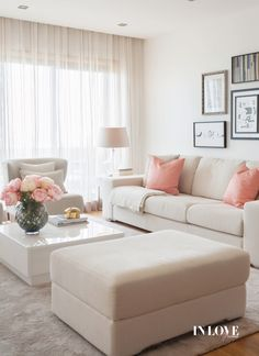 White and pink living room. Very calming and welcoming living room color scheme. Living Room Sofa Design, Living Room Decor Cozy, Living Room Color Schemes, Home Room Design, Home Living Room, Living Room Designs, Apartment Interior, Room Interior, Design Interior