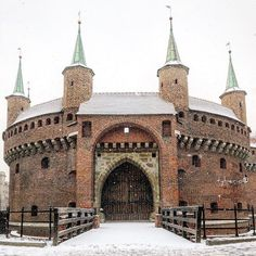 Kraków Barbican in Gothic style. Built around 1498, it's one of only three such fortified outposts still surviving in Europe, and the best preserved. Poland