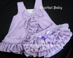 Ruffle Back Pinafore & Bloomer Set Fully Lined Set by SherbetBaby Baby Dress Design, Baby Girl Dress Patterns, Baby Clothes Patterns, Toddler Girl Dresses, Little Girl Dresses, Baby Dress Clothes, Cute Baby Clothes, Baby Girl Fashion, Kids Outfits