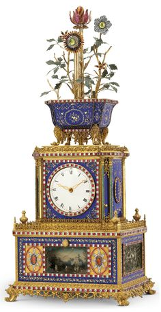 AN EXCEPTIONAL IMPERIAL CHINESE ORMOLU, ENAMEL AND PASTE-SET STRIKING, MUSICAL AND AUTOMATON 'JARDINIERE' CLOCK GUANGZHOU WORKSHOPS. QIANLONG PERIOD (1736-1795), LATE 18TH CENTURY