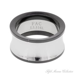 You'll be wowed by this handsome stainless steel ring trimmed with black.
