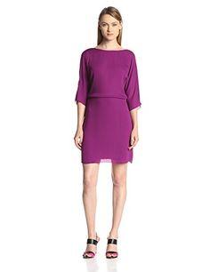 HALSTON HERITAGE Women's Georgette 3/4 Sleeve Dress with Back Flounce, Electric Purple, 8 Halston Heritage http://www.amazon.com/dp/B00J1X6FLA/ref=cm_sw_r_pi_dp_ShWaub1DF1894