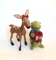 AdoraWools   Needle Felted Fawn and Turtle by AdoraWools on Etsy, $135.00