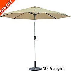 FARLAN Patio Umbrella 9 Ft Outdoor Table Aluminum Offset Market Umbrellas  With Push Button Tilt And