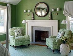 Green bedroom in East Hampton - Meg Braff Interiors