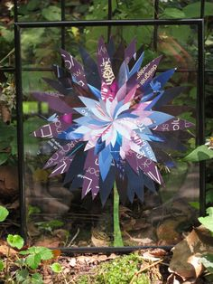 Handmade paper flower collage - 8x10 floating frame. Shades of blues and violet create highlights and lowlights within this delicate collage.