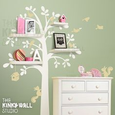 Tree wall decal - white on colored wall with shelves. Addy's room needs shelves Kids Wall Decals, Vinyl Wall Stickers, Tree Decals, Wall Vinyl, Girl Nursery, Girls Bedroom, Tree Bedroom, Childrens Bedroom, Lego Bedroom