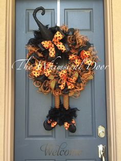Witch Wreath Witch Hat and Boots Halloween Wreath Orange and Black Witch Wreath…