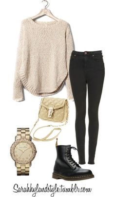 Sarah Hyland inspired outfit for school by ashleyglass featuring kitten heel shoesPull&Bear , $47 / Skinny jeans / Dr. Martens kitten heel shoes, $135 / Banana Republic  / Marc by Marc Jacobs marc jacobs jewelry