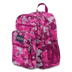 JanSport Big Student Backpack - Fluorescent Pink Streaky Camo / 17.5 - Click image twice for more info - See a larger selection of school backpacks at http://kidsbackpackstore.com/product-category/school-backpacks/ - kids, kids backpack, school backpack, everyday backpack, school bag, gift ideas, teens backpacks.