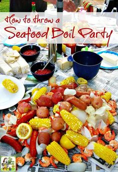 Tips on how to throw a seafood boil party, whether you love lobster, shrimp, crab or want to do a traditional Cajun crawfish boil. Includes a Seafood Boil with Corn and Potatoes recipe that you can tweak to include crawfish, too! Cajun Seafood Boil, Seafood Broil, Cajun Crawfish, Seafood Boil Recipes, Seafood Bake, Shrimp Recipes, Party Recipes, Broiled Seafood Platter Recipe, Clam Boil Recipe