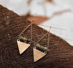 Tribal Geometric Earrings Brass Earrings Turquoise on Brass