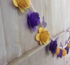 Purple Rose Paper Garland Rose Flower Butterfly by CountryShades