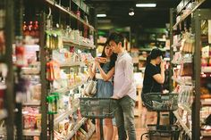 I couldn't help but giggle when this super sweet supermarket engagement session by Mary Ann Photography popped up in my inbox. This couple love cooking and Engagement Photo Outfits, Engagement Pictures, Engagement Shoots, Wedding Pictures, Wedding Photography Packages, Couple Photography, Pre Wedding Photoshoot, Wedding Shoot, Pre Nuptial Photos
