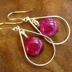 Hot Pink and Silver  Dichroic Fused Glass Drop by GlassCat on Etsy, $30.00