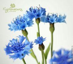 Васильки синие из полимерной глины. Подарок. Холодный фарфор - синий,васильковый