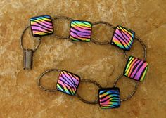 Fused Glass Bracelet Rainbow Tiger Dichroic Fused by GlassCat, $28.00